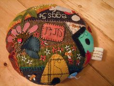 The Painted Quilt: Wool Crazy Pincushion