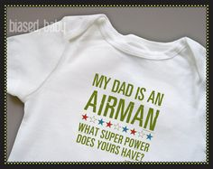 Air Force Dad or Mom - What Super Power Does Yours Have - Funny Baby Gift on Etsy, $16.00