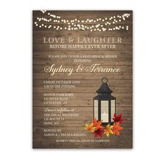 Happily Ever After Fall Wedding Rehearsal Dinner Invite designed to coordinate with the Rustic Fall Lantern Autumn Leaves Wedding Invitations suite.