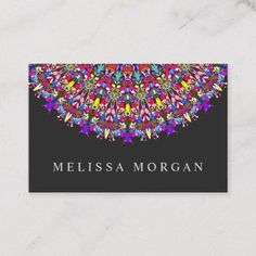 Shop Happy Floral Mandala Business Card created by ZyddArt. Art Business Cards, Elegant Business Cards, Business Card Size, Business Card Design, Print Templates, Card Templates, Print Design, Graphic Design, Bohemian Design