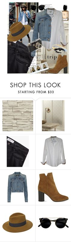 """""""Let's get the hell out !!"""" by samanthaodyssa ❤ liked on Polyvore featuring York Wallcoverings, MANGO, Burberry, J Brand, Maje, Maison Michel, Marc Jacobs, Polaroid, GE and Leica"""