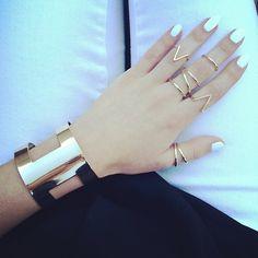 simple geometric accessories jewelry bracelet midi rings ring gold golden white nails nail polish nailpolish
