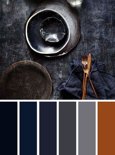 Blue grey and copper color palette kizito restaurant copper colour palette, Copper Colour Palette, Color Schemes Colour Palettes, Colour Pallette, Bedroom Color Schemes, Copper Color, Grey Palette, Color Combinations, Decoration Palette, Copper And Grey