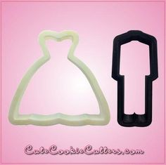 Our White Wedding Dress cookie cutters are 3-1/2 inches tall, about 3-3/4 inches wide, and are made of white plastic. Cleaning instructions: hand wash, towel dr