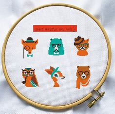 Hipster Animal cross stitch pattern, Instant Download, Free shipping, Cross-Stitch PDF, Cute Hipster, MCS057