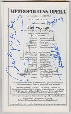 The Voyage, opera by Philipp Glass - World Premiere Program Signed 1992