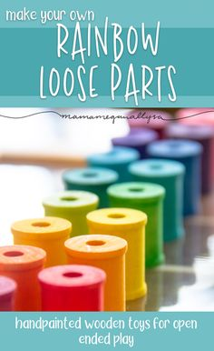 DIY Loose Parts Toys I just finished up a huge set of wooden rainbow loose part toys for little lady to explore and create with. I've got tips, tricks and advice for your DIY set! Grimm's Toys, Diy Toys, Wooden Toys For Toddlers, Toddler Toys, Wooden Crafts, Wooden Diy, Diy Montessori Toys, Montessori Bedroom, Montessori Toddler