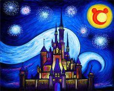 Art Print Disney Starry Night Over Cinderella Castle Disney Canvas Paintings, Disney Canvas Art, Cute Paintings, Disney Art, Castle Drawing Easy, Disney Castle Drawing, Disney Princess Drawings, Easy Disney Drawings, Castle Painting