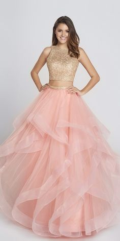 Ellie Wilde Two Piece Ball Gown EW117156. Colors: White/Gold, Navy Blue, Peach. Size: 00-12