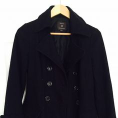 Forever 21 Navy Peacoat; Size M Forever 21 dark navy pea coat. Size medium. Button at the end of sleeves and on the back. Let me know if you have any questions! Forever 21 Jackets & Coats Pea Coats