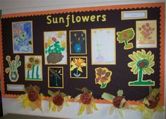 Sunflowers Monet Display, classroom display, class display, Plants, flower,art, painting, planting, sunflower, Early Years (EYFS),KS1&KS2 Primary Resources