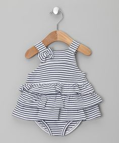 Take a look at this Navy Stripe Skirted Bodysuit - Infant by Lilly & Sid on #zulily today!