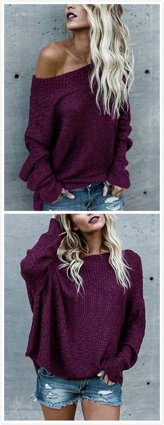 Add some sophistication to your fall vogue with this plain color sexy sweater. It features long sleeves, loose plunge design and off the shoulder which will make you more sexy. Match this sweater with your favorite jeans for a classic fall look that everyone will love.