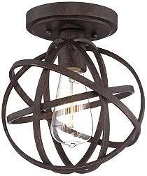 Franklin Iron Works Bronze Modern Atom Ceiling Light