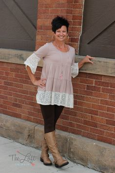 We love this beige tiered top with lace trim...  leggings & boots...  #ishoptheloft #fashion #nowtrending #style #ootd #mystyle #boutiquelove #trendy #shopsmall #follow