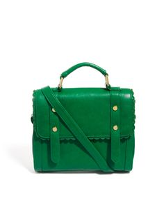 Cute. Green. Bag. Fake leather, which doesn't bother me at all because it's less than $40.