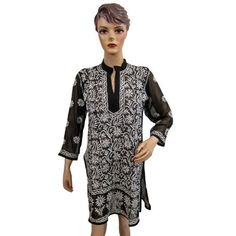 Amazon.com: Women Kurti Blouse Tops Black White Embroidered Peasant Tunic Top Small Size: Clothing$32.75