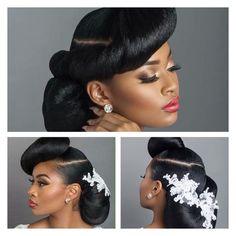 Bridal Hair Styles for your wedding. Natural Bridal Hair, Natural Wedding Hairstyles, Bridal Hair Updo, Bridal Hair And Makeup, Hair Makeup, Black Brides Hairstyles, Bride Hairstyles, Bridal Hair Inspiration, Elegant Wedding Hair