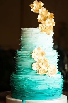 Image result for teal ombre cake tiered