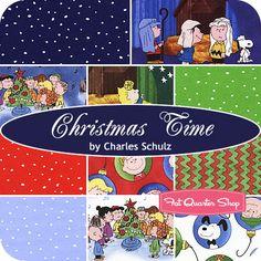 Christmas Time Fat Quarter Bundle Charles Schulz for Quilting Treasures - Fat Quarter Shop