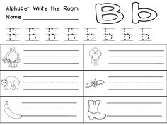 This set has everything you need for an Alphabet Write the Room Center. There are 6 full-color cards for each letter to print and post around the room.   There are also 2 different recording sheets for each letter: one has handwriting lines, while the other has blank lines.