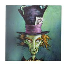 Shop Dark Mad Hatter from Alice in Wonderland Ceramic Tile created by dianalevinart. Alice In Wonderland Paintings, Dark Alice In Wonderland, Dark Paintings, Simple Canvas Paintings, Cool Art Drawings, Drawing Ideas, Caterpillar Alice In Wonderland, Painting The Roses Red, Wonderland Tattoo