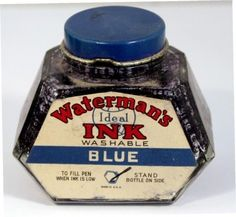 Waterman Blue Ink Bottle v0785 USA Vintage Fountain Pen Ink Bottle