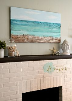 Original ocean-inspired painting done on beautiful rustic reclaimed barn wood by Aimee Weaver Designs.                                                                                                                                                      More
