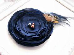 Fabric Flowers, Flower brooch pin, Dark Midnight Blue Fabric flower brooch, Flower clip, Fabric Brooch, Wedding Flower. $13.90, via Etsy.