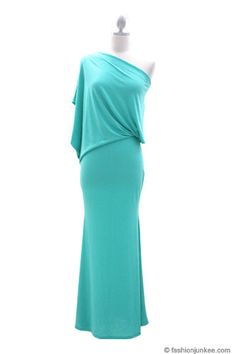 :As Seen In US WEEKLY: Long Full Length Jersey Boat Neck Off the Shoulder Dress-Mint