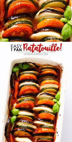 This 1 Pan Vegan Ratatouille recipe, piled high with veggies and tomato sauce, is an easy yet mouth-watering take on the healthy French food classic. Plus, not only is it a vegetarian, vegan, gluten-free, and paleo meal, but it's a one dish dinner recipes your whole family is going to love! // Live Eat Learn