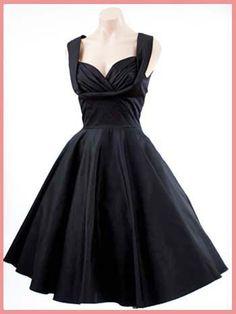 Trashy Diva Black 50's Inspired Honey Swing Dress-Retro Little Black Dresses