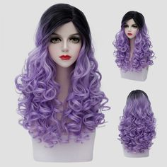 Synthetic Wigs Synthetic None-lacewigs 65cm Long Wavy Black Mixed Blonde Lolita Girls Fashion Cosplay Full Wig+wig Cap Heat Resistant Good Reputation Over The World