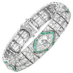 c1925 Platinum, Diamond and Emerald Art Deco Bracelet | From a unique collection of vintage more bracelets at https://www.1stdibs.com/jewelry/bracelets/more-bracelets/