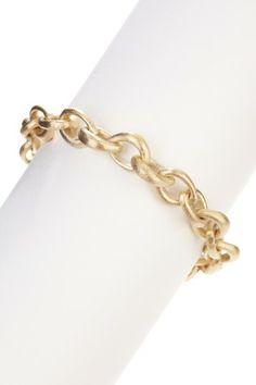 18K Gold Clad Satin-Finish Teardrop Rolo Bracelet
