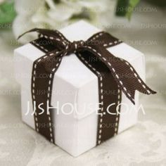 Favor Holders - $4.39 - White Square Favor Box With Chocolate Ribbon (Set of 12) (050015928) http://jjshouse.com/White-Square-Favor-Box-With-Chocolate-Ribbon-Set-Of-12-050015928-g15928