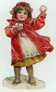 Beautiful little girl in red coat and hood, poised to throw the first of several snowballs.  Victorian dress and shoes.