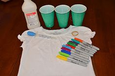 How to Tie Dye using permanent markers. All you need are markers, cups, and a water dropper. Would be cool for bandanas too.  With summer coming this would be great! PowerClub shirts for the kids