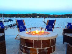 Warm fires overlooking a spectacular view of Williams Bay, on a chilly Wisconsin day.