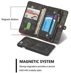CaseMe 008 iPhone 7 Detachable 2 in 1 Zipper Wallet Folio Case Black
