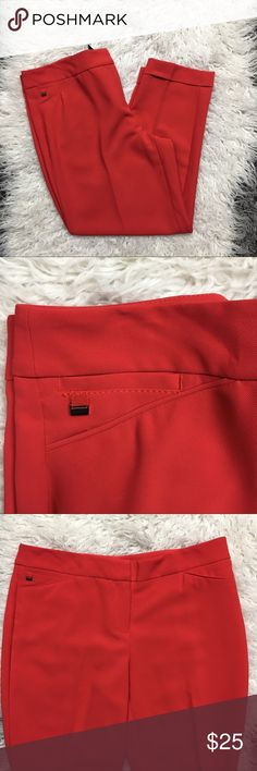 WHBM Dress Cropped Ankle Pants Not quite red not quite orange, but attention grabbing for sure. Size 6 White House Black Market cropped pants. Good used condition. White House Black Market Pants Ankle & Cropped