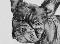 French Bulldog print from Painting, Modern wall art Black and white Print of Original Art 8x10, 5x7 or larger -french… #dogs #pets #puppy