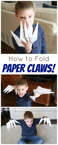 How to Fold Paper Claws - Great boredom buster for kids!