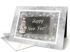 Happy New Year/Snowflakes And A Snowman card