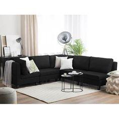 Corner Sofa Dark Grey, Corner Sofa With Ottoman, Corner Sofa Living Room, Living Room Grey, Black Ottoman, Black Sofa, White Sofas, White Rug, Large Sectional Sofa