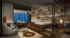 The rooms, which average £815 (1,500 Singapore dollar) a night, include a range of child-friendly perks such as kids TV, stuffed toys, specialised bath products and miniature bathrobes