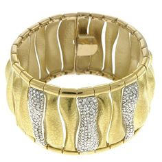 """18K Yellow Gold 4.61ct tw. Diamonds 7.5"""" Bracelet Hammered Satin Finish with box-with-tongue-and-safety-clasp Jewelplus http://www.amazon.com/dp/B00EPPUW18/ref=cm_sw_r_pi_dp_bClStb1SMKRMDAC2"""