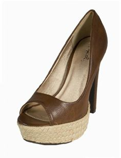 Amazon.com: Drama-61! By Qupid Classic Peep Toe Pumps with Trendy Espadrille Platform in Cognac Burnish: Shoes