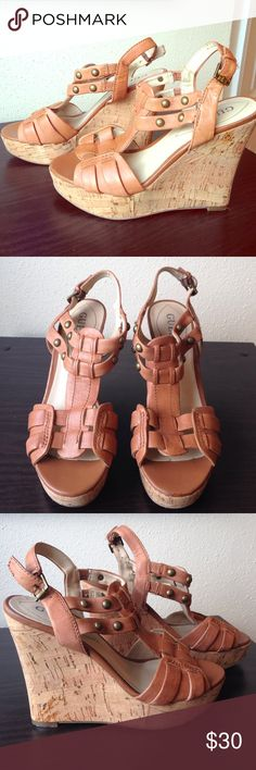 tan leather Guess wedges, size 6 cute tan leather wedges from Nine West. cork wedge. size 6. great condition. Guess Shoes Wedges