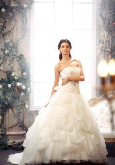 Chapel Train Sweetheart Tulle Ball Gown Wedding Dress